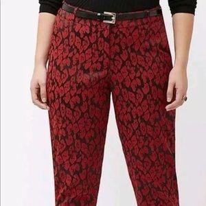 Lane Bryant red leopard pants